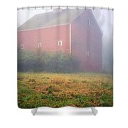 Old Red Barn In Fog Shower Curtain