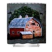 Old Red Barn On Slate Shower Curtain