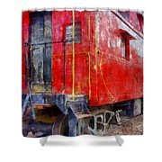 Old Red Caboose Shower Curtain