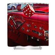 Old Red Chevy Dash Shower Curtain
