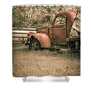 Old Red Farm Truck Shower Curtain