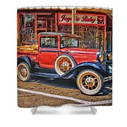 Old Red Pickup Truck Shower Curtain