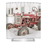 Old Red Tractor In The Snow Shower Curtain