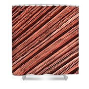 Old Red Wooden Wall In Sunlight Shower Curtain