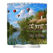 Old River Cottage Shower Curtain by Dominic Davison