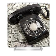 Old Rotary Phone On Money Background Shower Curtain