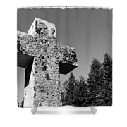 Old Rugged Cross Bw Shower Curtain