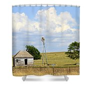 Old Rush County Farmhouse With Windmill Shower Curtain