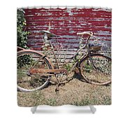 Old Rusty Bicycle With Basket Of Lavender Flowers Shower Curtain