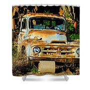 Old Rusty International Flatbed Truck Shower Curtain