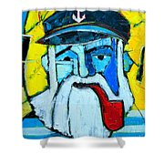 Old Sailor With Pipe Expressionist Portrait Shower Curtain