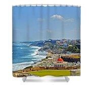 Old San Juan Coastline 2 Shower Curtain