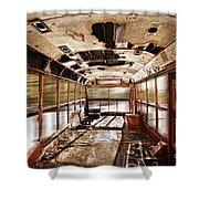 Old School Bus In Motion Hdr Shower Curtain