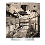 Old School Bus In Sepia Motion  Shower Curtain