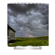 Old School House And Lightning Shower Curtain by Mark Duffy