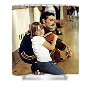 Old School Roller Derby Skater And His Number One Fan Shower Curtain