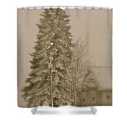 Old School Winter Shower Curtain