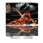 Old School Wrestling Headlock By Dean Ho On Don Muraco With Reflection Shower Curtain