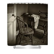 Old Sewing Machine Sepia Dsc04265 Shower Curtain