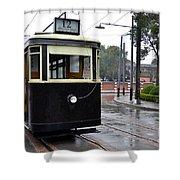 Old Shanghai Trolley Tram Car Rests In Tracks Shower Curtain
