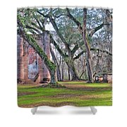 Old Sheldon Church Angled With Tombs Shower Curtain