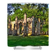 Old Sheldon Church Ruins In South Carolina Shower Curtain by Reid Callaway