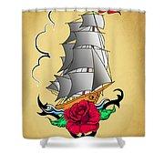 Old Ship Tattoo  Shower Curtain