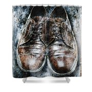 Old Shoes Frozen In Ice Shower Curtain