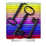 Old Skeleton Keys On Rows Of Colored Pencils Shower Curtain