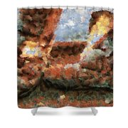 Old Snow Boots Shower Curtain