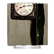 Old Square Clock Shower Curtain