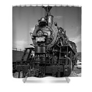 Old Steam Engine Black And White Shower Curtain