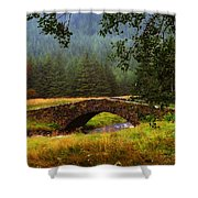 Old Stone Bridge Over Kinglas River. Scotland Shower Curtain