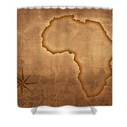 Old Style Africa Map Shower Curtain by Johan Swanepoel