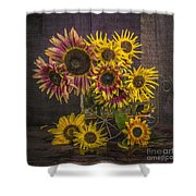 Old Sunflowers Shower Curtain
