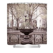 Old Time Fountain Shower Curtain