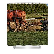Old Time Horse Plowing Shower Curtain