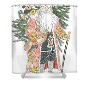 Old Time Santa With Teddy Shower Curtain