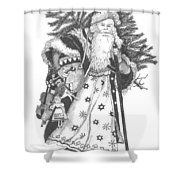 Old Time Santa With Violin Shower Curtain