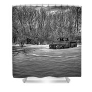 Old Timer In The Snow Shower Curtain