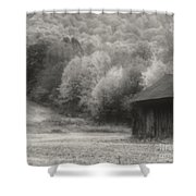 Old Tobacco Barn In Black And White Shower Curtain