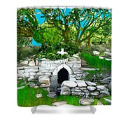 Old Tomb In The Countryside Ireland Shower Curtain