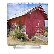 Old Tool Shed Red Barn Shower Curtain