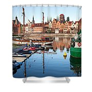 Old Town Of Gdansk Skyline And Marina Shower Curtain
