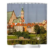 Old Town Of Warsaw Skyline Shower Curtain