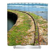 Old Tracks By The Ocean Shower Curtain