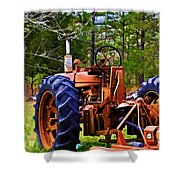 Old Tractor Digital Paint Shower Curtain