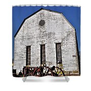 Old Tractor In Front Of Hay Barn Shower Curtain