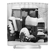 Old Tractor In The Snow Shower Curtain