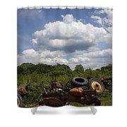Old Tractor Junkyard Shower Curtain